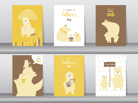 Set of cute Happy Fathers Day card template. Vector illustrations Stock Illustratie