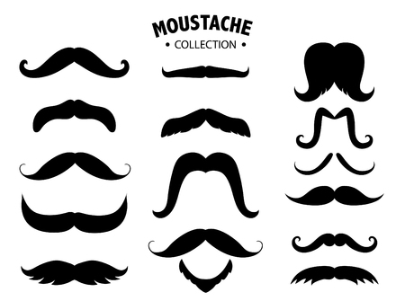 Set of mustaches silhouettes,Mens mustaches,Vector illustrations