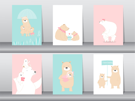 Set of cute animals template. Vector illustrations