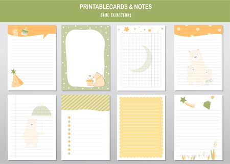 Set of cute animals of printable card and notes template. Vector illustrations Stock Illustratie