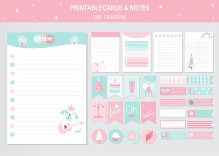 Set of cute animals printable card and notes templates. Vector illustrations Illustration