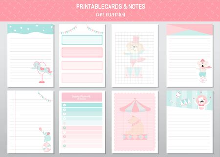 Set of cute animals printable card and notes templates. Vector illustrations Stock Illustratie