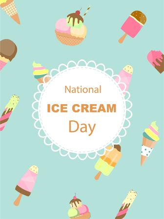 Collection of ice cream invitation card, Happy national ice cream day poster, Vector illustrations