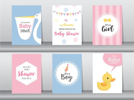 Set of baby shower invitations cards, poster, greeting, template, animal, Vector illustrations