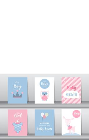 Set of baby shower invitations cards, poster, Vector illustrations Stock Illustratie