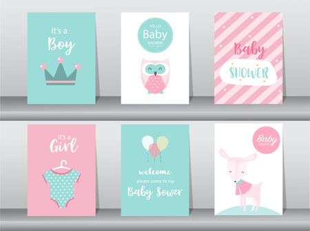 Set of baby shower invitations cards, Vector illustrations