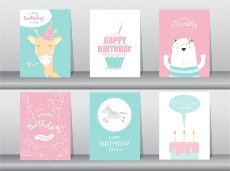 Set of birthday cards, Vector illustrations