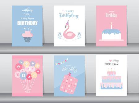 Set of birthday cards. Vector illustrations