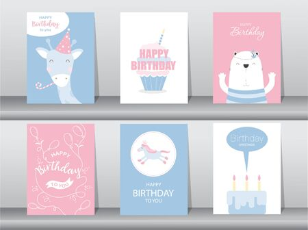 Set of birthday cards Vector illustrations