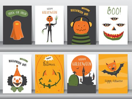 Set of Halloween Posters invitation cards,poster,template,greeting cards,cute,animal,Vector illustrations 일러스트