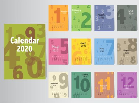 Calendar 2020 design, The year of the pig monthly cards templates  イラスト・ベクター素材
