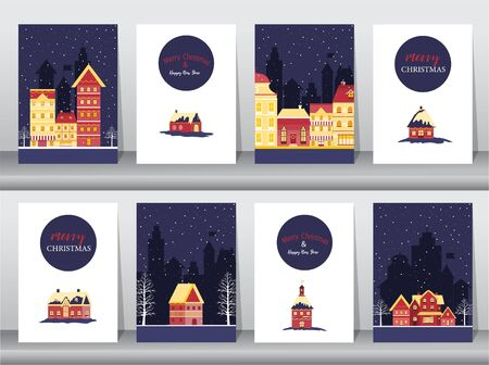 Set of cute Merry christmas  background with christmas town Covered Snow,cards, Vector illustrations 向量圖像