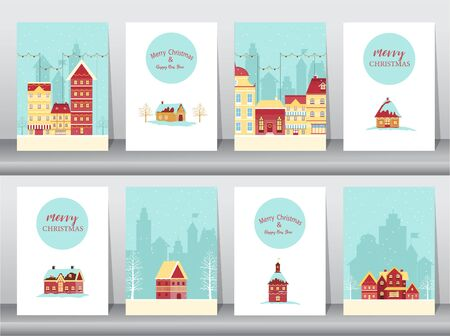 Set of cute Merry christmas  background with christmas town Covered Snow, cards, Vector illustrations