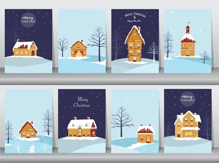 Set of cute Merry christmas  background with House Covered Snow,cards, Vector illustrations 向量圖像