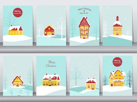 Set of cute Merry christmas  background with House Covered Snow, cards, Vector illustrations
