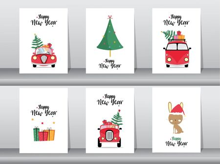 Set of cute Merry Christmas and Happy New Year background, cards, cartoon, cute, Vector illustrations