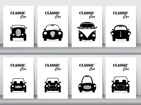 Set of silhouette classic car front view icon vector illustrations,vintage,old