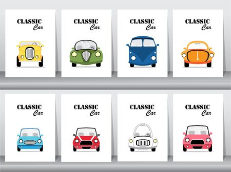 Set of classic car front view icon vector illustrations,vintage,old