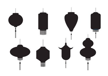 Set of hanging silhouette Chinese lanterns isolated on white background, Vector illustration.