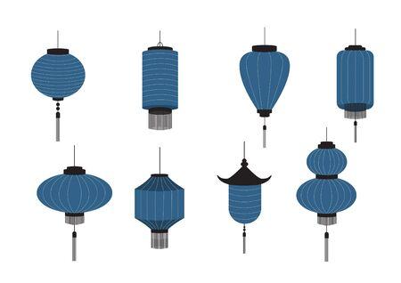 Set of hanging Chinese lanterns isolated on white background, Vector illustration. Stock Illustratie