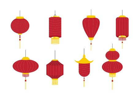 Set of hanging red Chinese lanterns isolated on white background, Vector illustration. Stock Illustratie