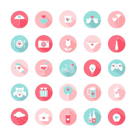 Valentine's day, Love, Set of cute icons, Vector illustration.
