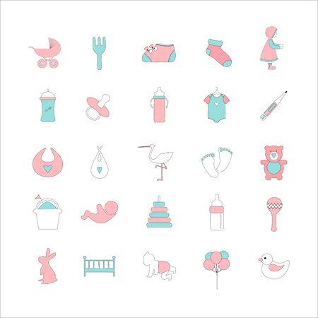 Set of baby shower cute icons, newborn, Vector illustration. Stock Illustratie