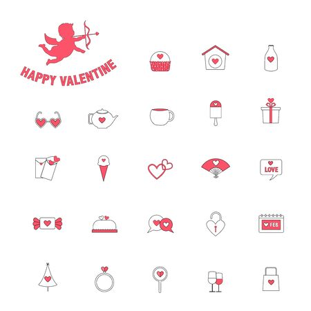 Valentine's day, Love,Set of cute icons,Vector illustration. Stock Illustratie