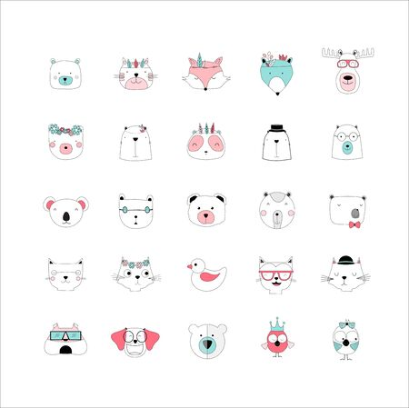 Set of animal cute icons,Vector illustration.