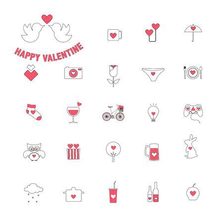 Valentine's day, Love, Set of cute icons,Vector illustration. Stock Illustratie