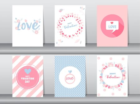Set of Valentine's day card, love, cute vector, Vector illustrations