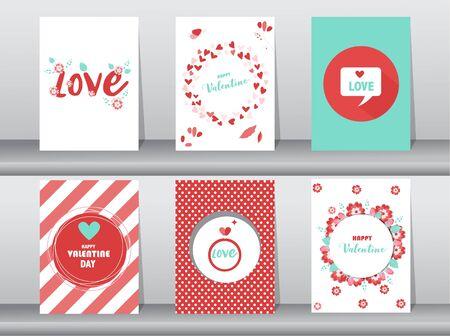 Set di biglietti di San Valentino, amore, vettore carino, illustrazioni vettoriali Vettoriali