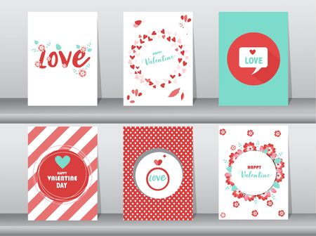 Set of Valentine's day card, love, cute vector, Vector illustrations Vector Illustration