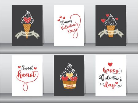 Set of Valentine's day card love cute hand writing, ice cream, Vector illustrations. Stock Illustratie