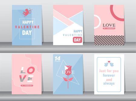 Set of Valentine's day card on retro pattern design,love,cute vector,Vector illustrations Stock Illustratie
