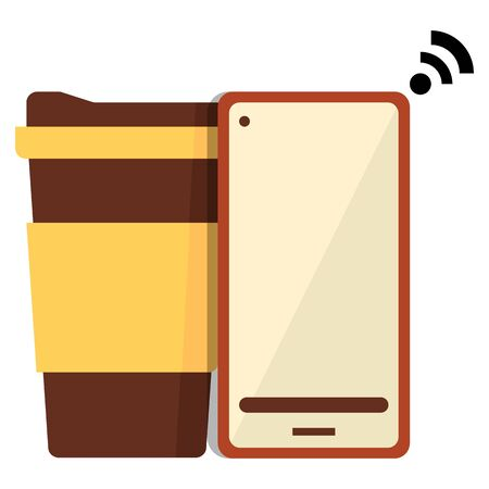 Coffee take away vector icon with mobile,flat vector illustration.