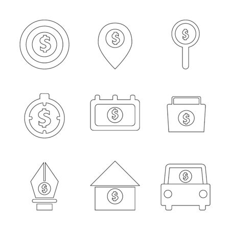 Business and Financial investment icons,symbols,thin line,Vector illustration.
