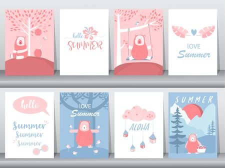 Set of baby shower invitation cards,birthday,poster,template,greeting,cute,bear,animal,Vector illustrations