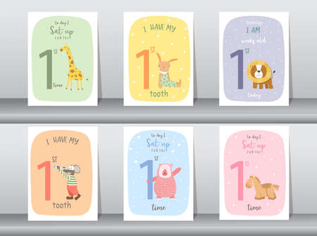 Cute baby month anniversary card,Milestone cards,Vector illustrations.