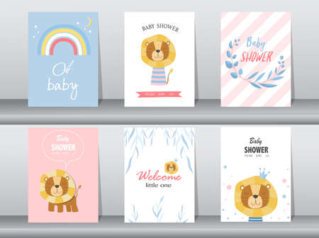 Set of baby shower invitations cards,poster,greeting,template,animal,Vector illustrations