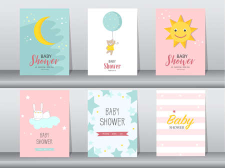 Set of baby shower invitations cards,poster