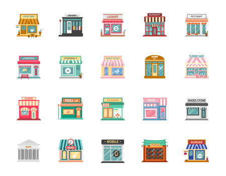 Collection of shop buildings isolated on white background,Retail business urban shop, store. Market and bakery, cafe and boutique store, vector illustration.