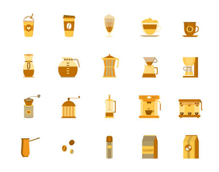 coffee icons vector illustration on white background.