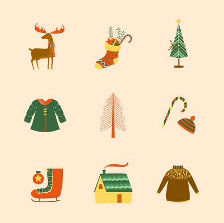Christmas design elements, vector illustrations.