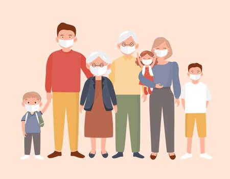 Big family wearing masks and stop the spread of viruses. Dad Mom Daughter Son wearing a surgical mask. Corona virus quarantine. Vektoros illusztráció