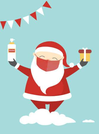 Cute Christmas cartoon character with corona virus protection,Vector illustrations.