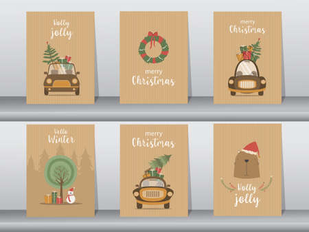 Set of Merry christmas  background with cute animal and Tree,Lovely cartoon background with holiday symbols,Vector illustrations