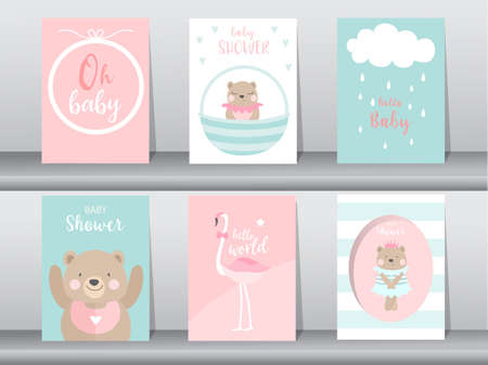 Set of baby shower invitation cards,poster,template,greeting,cute,bear,animal,Vector illustrations Illustration