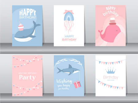 Set of birthday cards with cute animal,poster,template,greeting card,cake,Vector illustrations