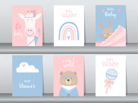 Set of baby shower invitation cards,poster,template,greeting,cute,animal,Vector illustrations Illustration